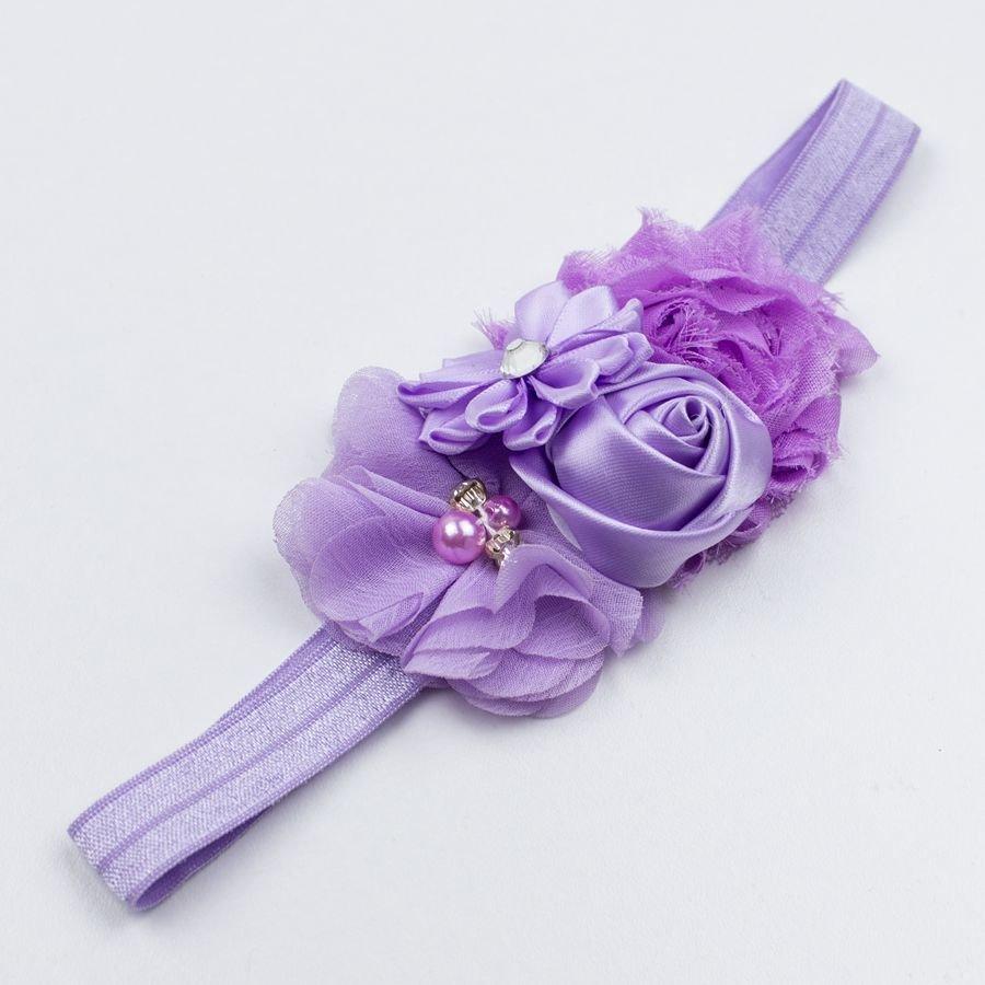 Baby haarbandje bloemen (lila)