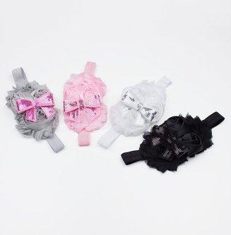 Baby haarbandje shabby/satijn/strik (grijs/lichtroze)