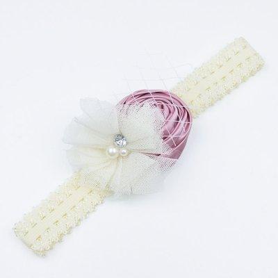 Haarbandje van kant met voile (oudroze/ivoor)