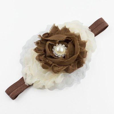 Haarbandje shabby bloemen op kant (bruin/ivoor)