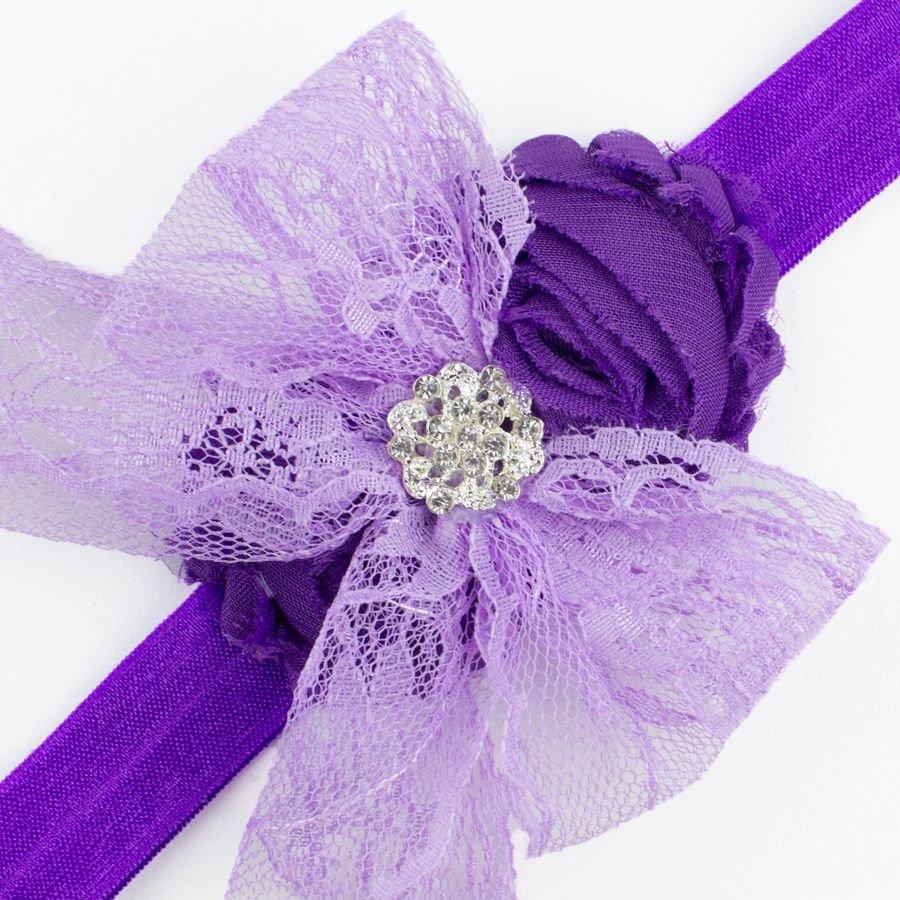 Baby haarbandje kanten strik met strass (lila/paars)