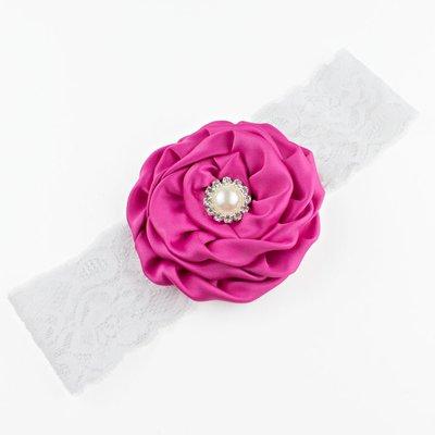 Haarbandje bloem met parel op kant (fuchsia)