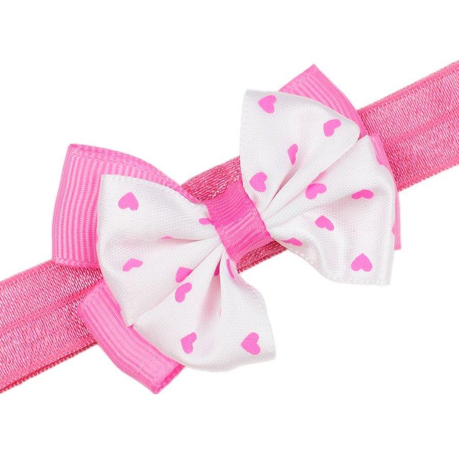 Baby haarbandje met dubbel hartjes strikje (roze)