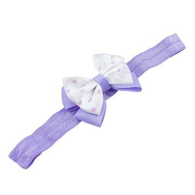 Haarbandje met dubbel hartjes strikje (lila)