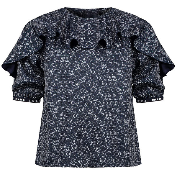Nono Top Tila frill satin dots (navy blazer)