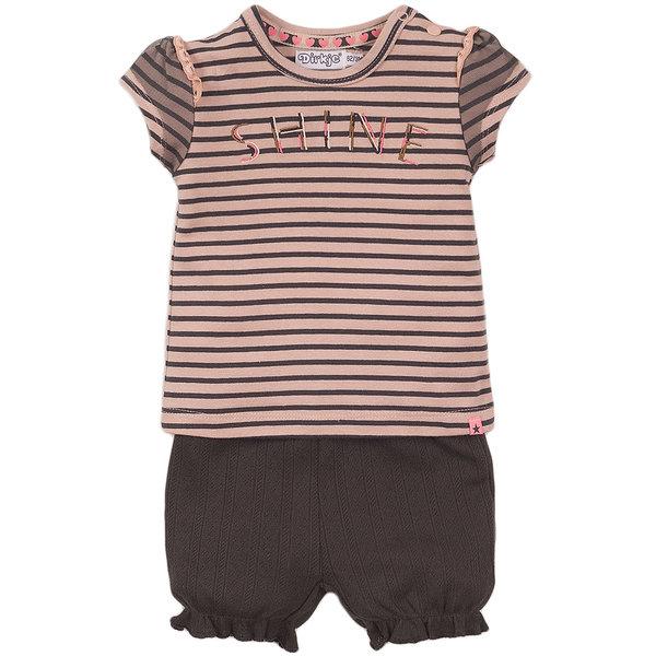 Dirkje Tweedelig setje Shine (smokey pink/grey stripe)