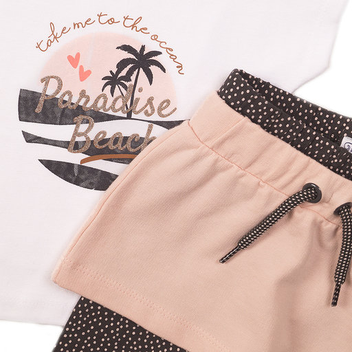Driedelig setje Paradise Beach (white/smokey pink/grey)