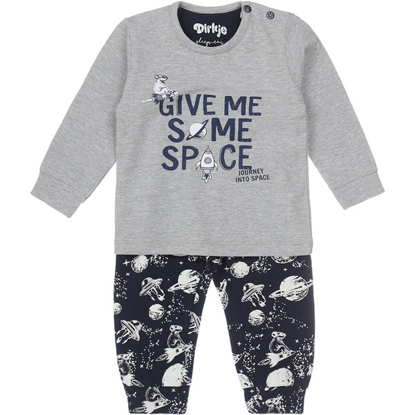 Dirkje Pyjama set Space (grey melee/navy)