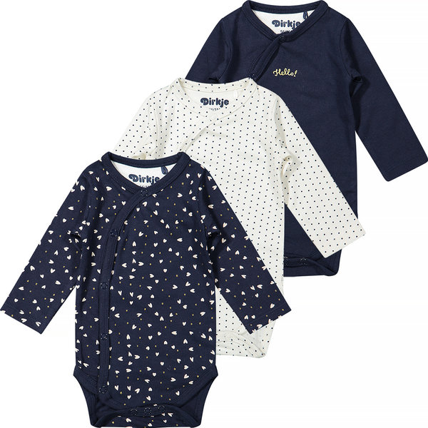 Dirkje Set van drie rompertjes (navy/off-white)