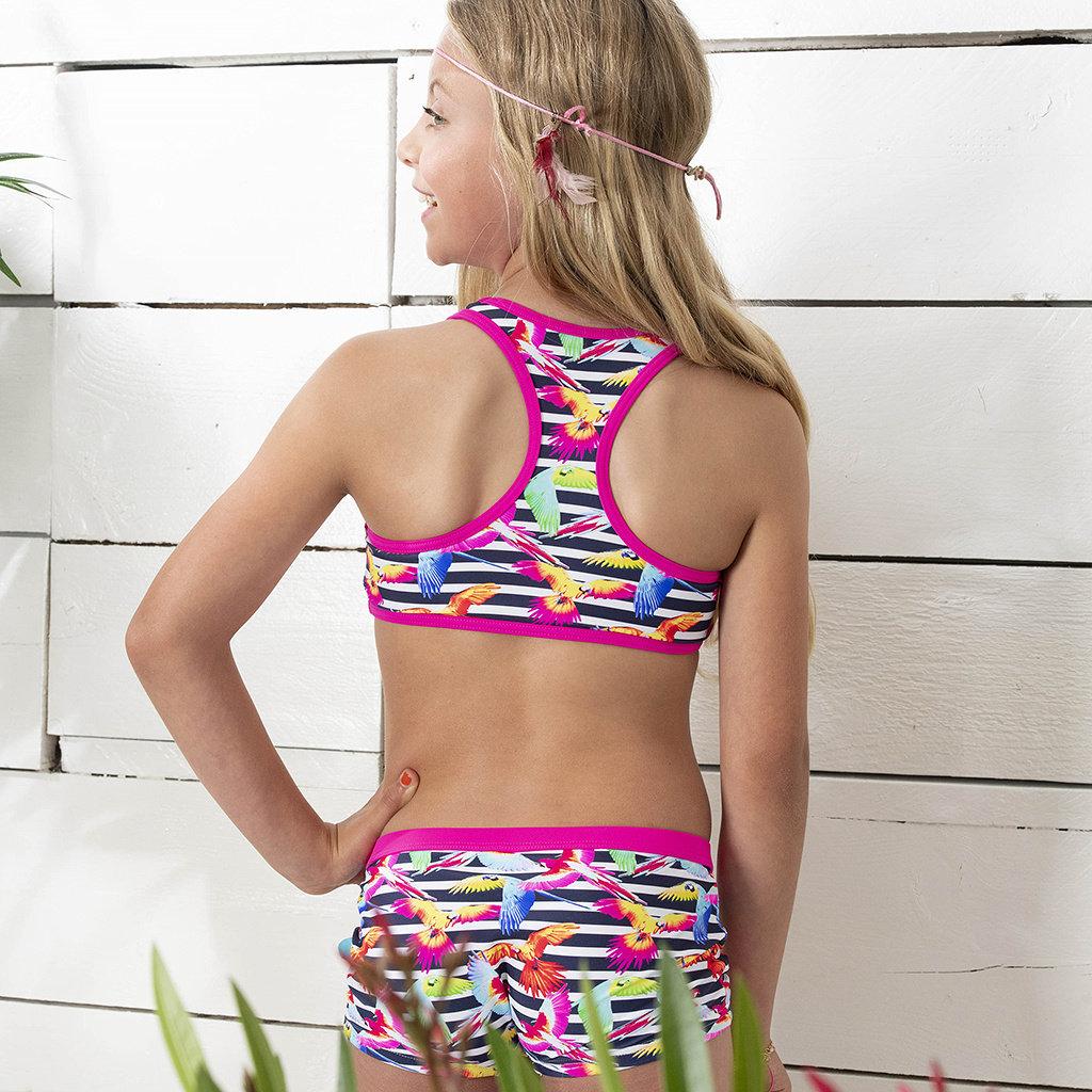 Just Beach Bikini met shorts (tropical birds)