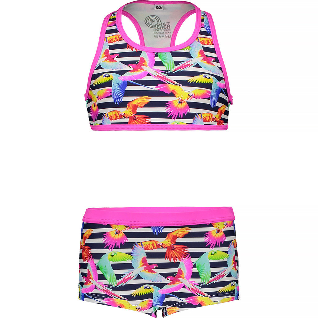 Bikini met shorts (tropical birds)