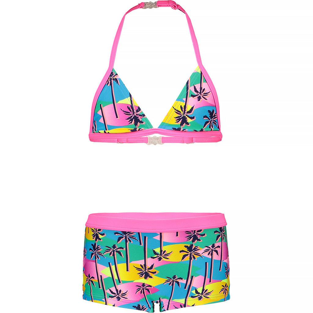 Bikini met shorts (tropical palms)