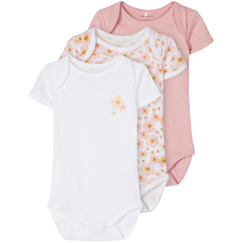 Drie rompertjes ss Flower (silver pink)