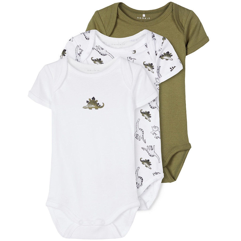 Drie rompertjes ss Dino (loden green)