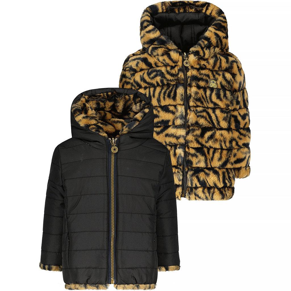 Winterjas REVERSIBLE hoodie (zebra)