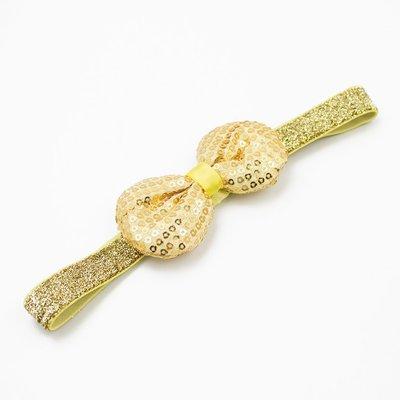 Haarbandje strik met glitterpailletjes (goud)