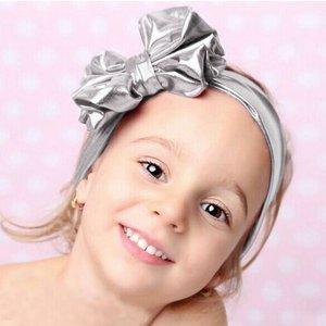Baby haarband met strik (zilver)