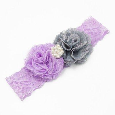 Haarbandje kanten bloemen en parel applicatie (lila/grijs)