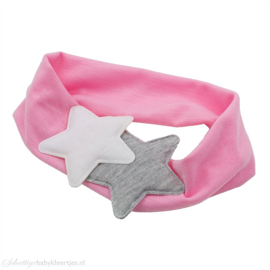 Baby haarband twee sterren (roze)