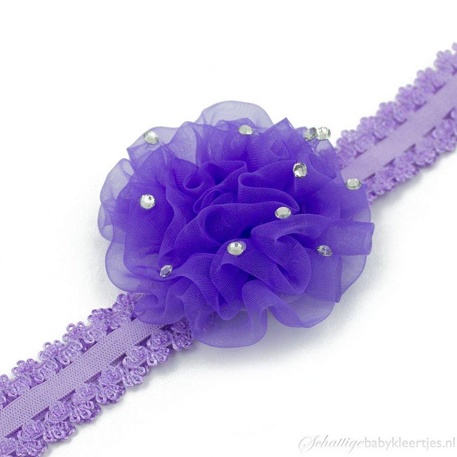 Baby haarbandje anjer met steentjes (lila)