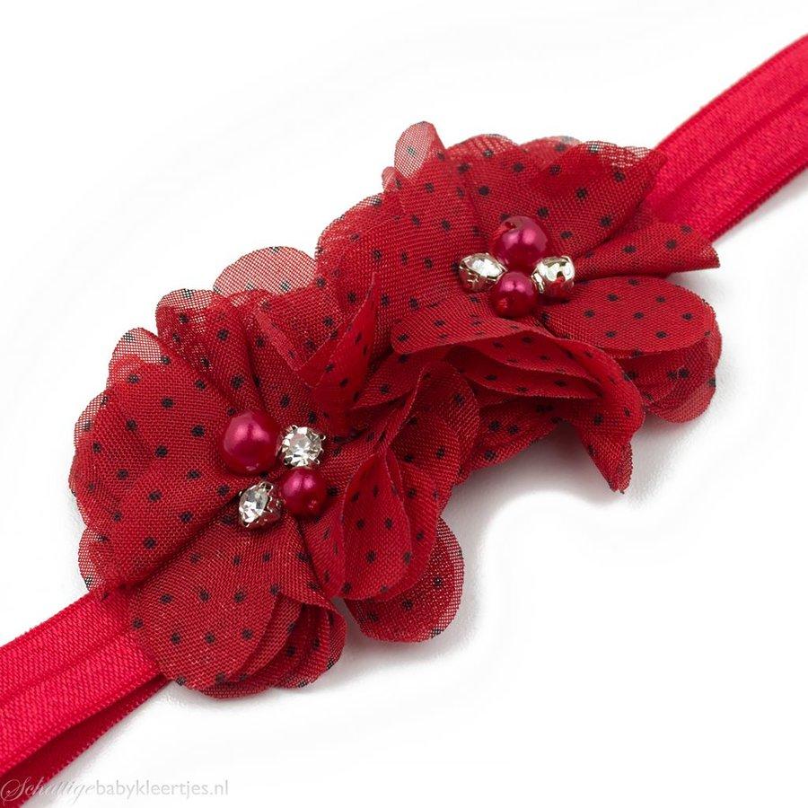 Baby haarbandje twee chiffon bloemen (rood/zwart)