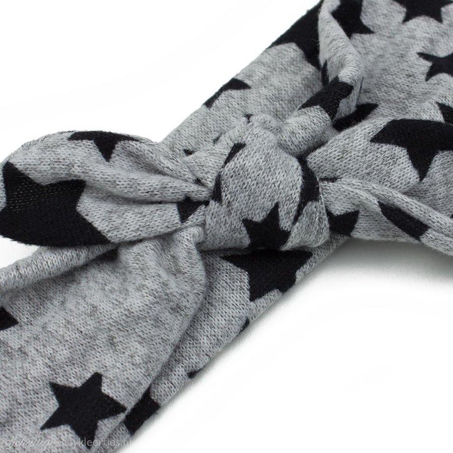 Haarbandje stof grijs/zwarte ster