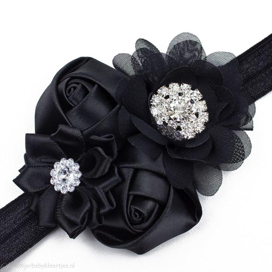 Baby haarbandje satijnen rozen en chiffon bloem (zwart)