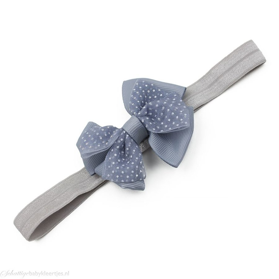Baby haarbandje met dubbele chiffon stippel strik (grijs)