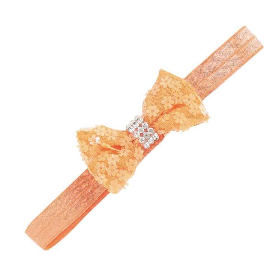 Haarbandje strik/strass/bloem (oranje)