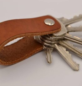 Arrigo Cognac genuine leather keychain