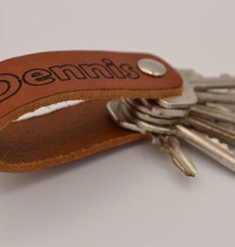 Arrigo Cognac real leather key ring with your own name or logo