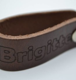Arrigo brown real leather keyring with own name or logo