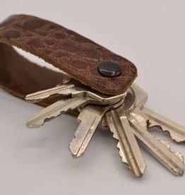Arrigo Cognac croco genuine leather keychain