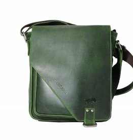 Arrigo CLICK IT TWICE- Green shoulderbag-leather bag green-nice bag- Arrigo bag 026