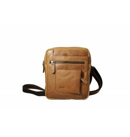 Arrigo Leather shoulder bag small cognac