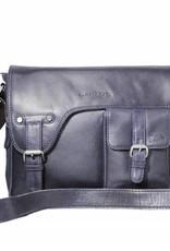 Arrigo Echt lederen - schoudertas –cross bodybag- cross body tas- stevig - chique - uitstraling - vintage leder- donker blauw- werk tas-Arrigo 3174