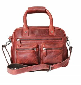 Arrigo Cowboysbag red leather bag- nice leatherbag- luxe beg-arrigo