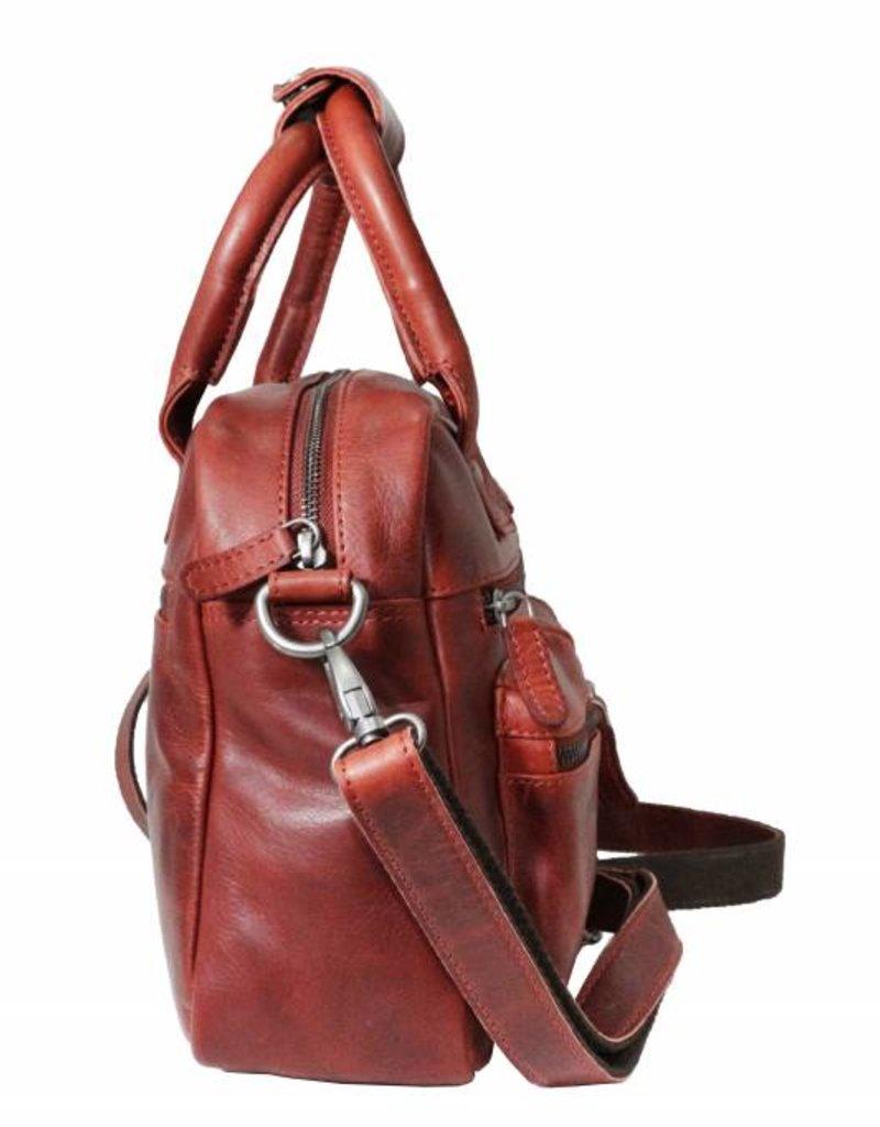 Arrigo Western bag middelmaat-echt lederen - stevig - chique - uitstraling - vintage leder- rood