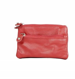 Arrigo Ferrari red key chain leather with four zipper pockets
