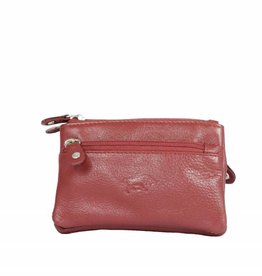 Arrigo Dark red keychain leather with four zipper pockets