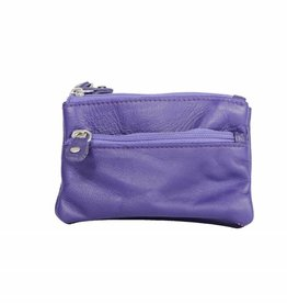 Arrigo Eggplant keychain leather with four zipper pockets