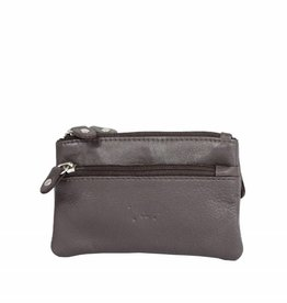 Arrigo Dark brown keyring leather with four zipper pockets