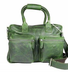 Arrigo Leren Cowboysbag large Groen