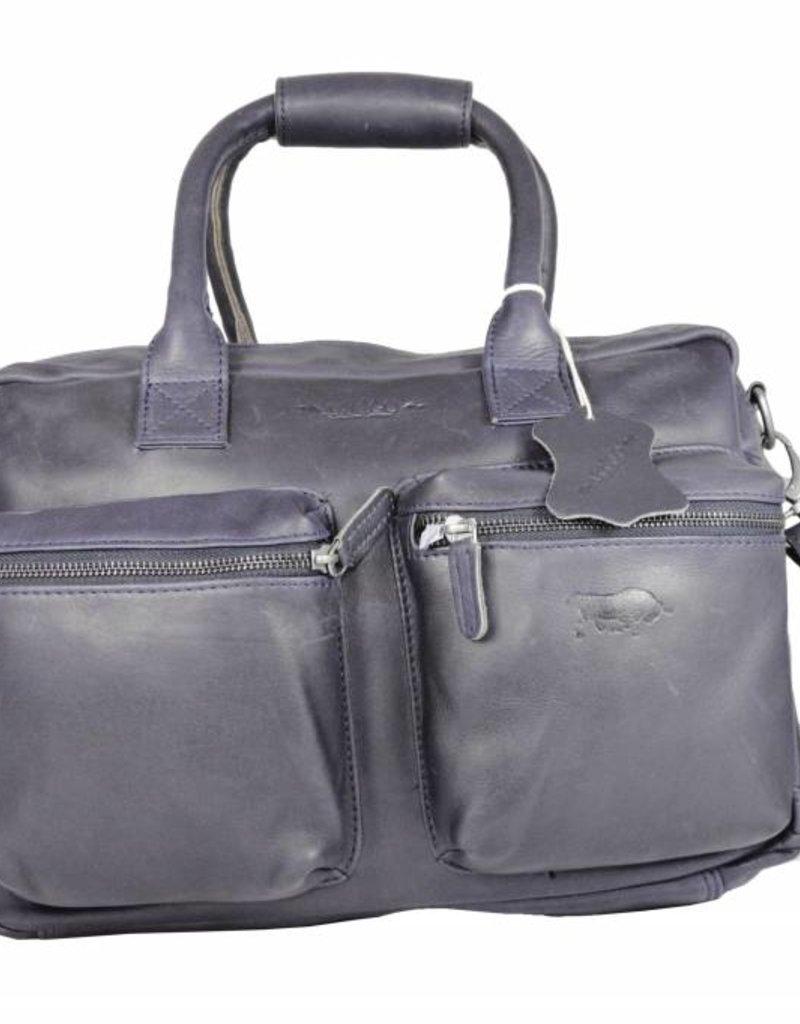 Arrigo Leather-schoolbag leather Leather Cowboysbag large Dark blue - shoulder bag - sturdy - chic - look - vintage leather- long- and short-sleeved- ARRIGO 15231- Westernbag