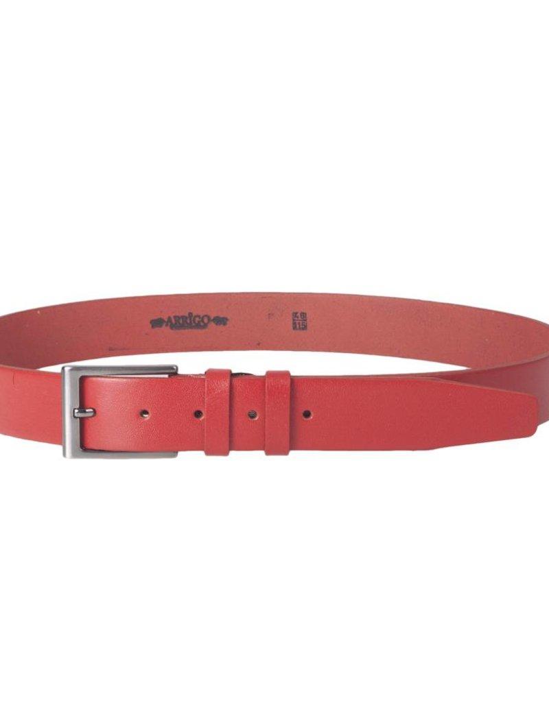 Arrigo Leren riem ferrari rood gemaakt van hoogwaardig volnerf dik leder met stijlvolle gesp met een donkere finish 3,5 cm breed maat 115