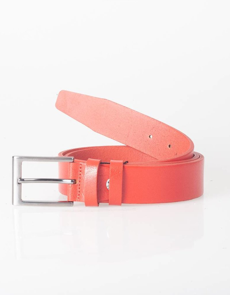 Arrigo Leather belt ferrari red made of high quality full grain thick leather with stylish buckle with a dark finish 3.5 cm wide size 115