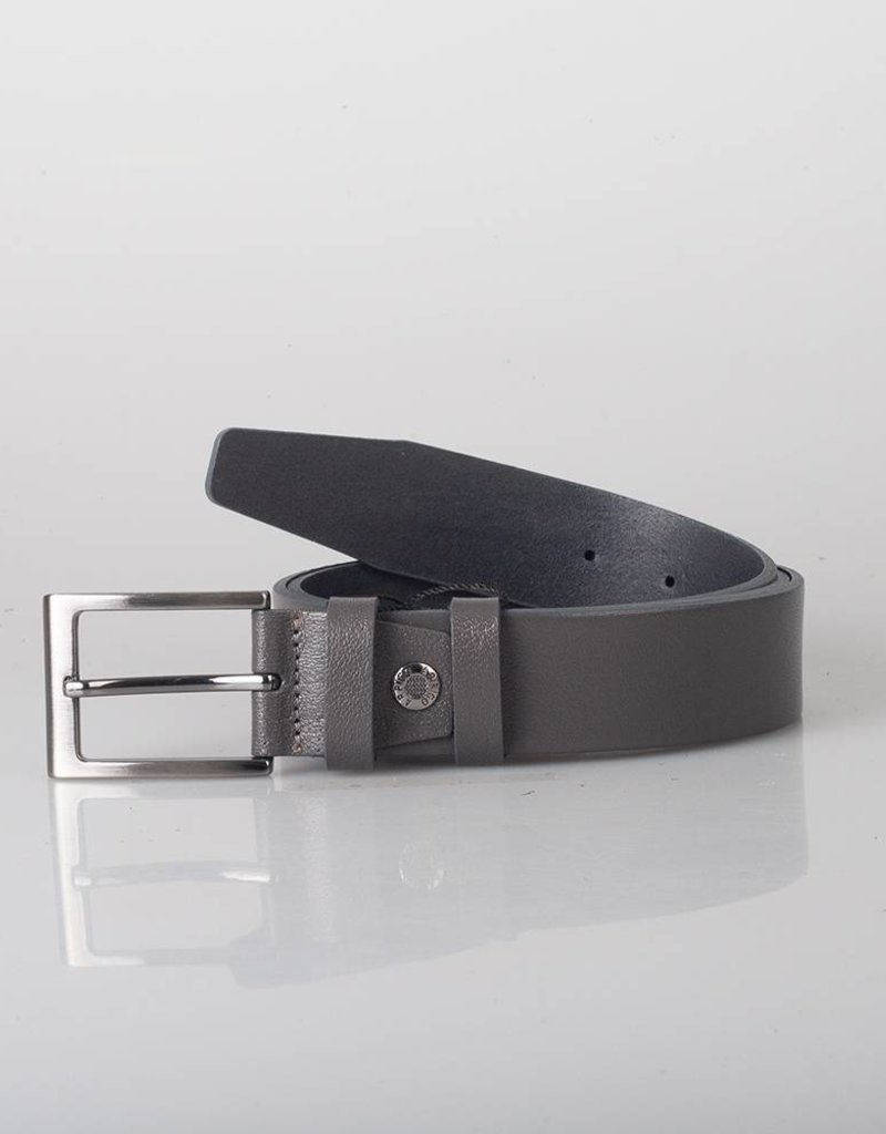 Arrigo Leather belt gray made of high quality full grain thick leather with stylish buckle with a dark finish 3.5 cm wide size 115