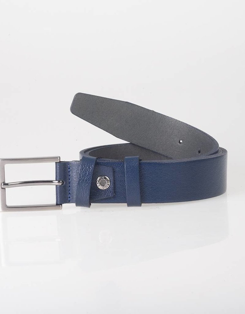 Arrigo Leather belt dark blue made of high quality full grain thick leather with stylish buckle with a dark finish 3.5 cm wide size 115