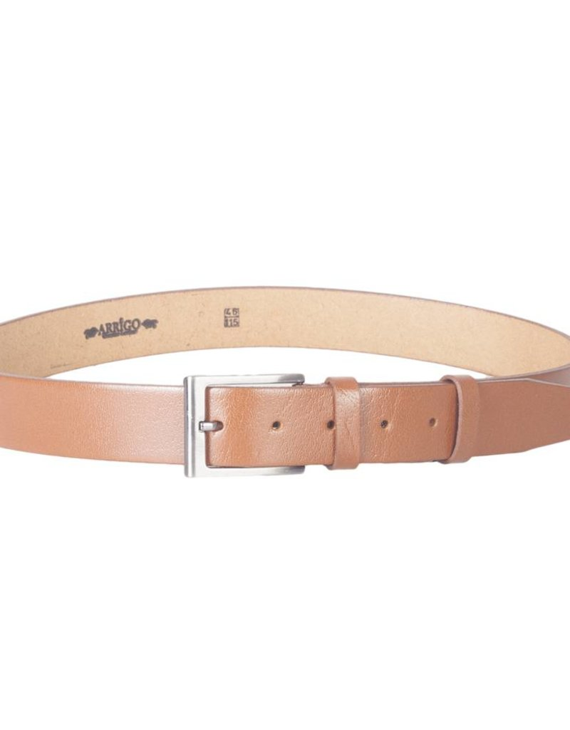 Arrigo Leather belt cognac (natural / light brown) made of high quality full grain thick leather with stylish buckle with a dark finish 3.5 cm wide size 115