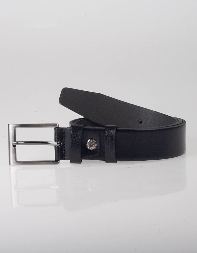 Arrigo Leren riem zwart gemaakt van hoogwaardig volnerf dik leder met stijlvolle gesp met een donkere finish 3,5 cm breed maat 115